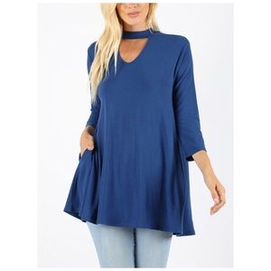 3/4 sleeve top tunic blue Ready for Fall! NWT